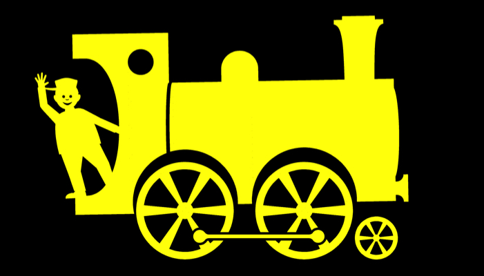 Yellow train on a black background